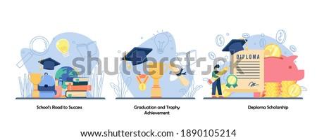 schooling, academic achievement, reward icon set. School road to success, graduation and trophy achievement, deploma scholarship.Vector flat design isolated concept metaphor illustrations