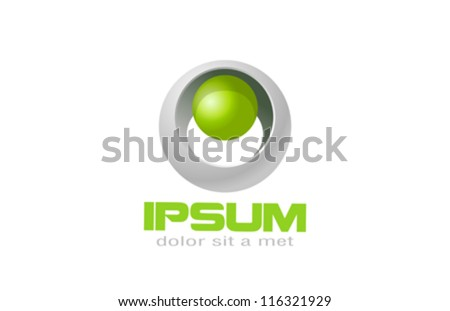Sci-fi ecology logo template. Biotechnology sphere. Vector. Editable.