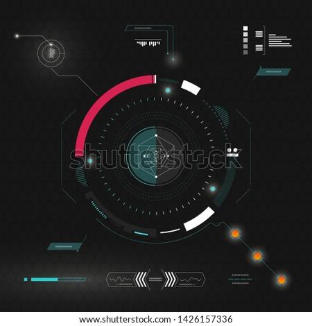 Sci fi futuristic interface. User interface high tech screen. HUD elements. Vector illustration.