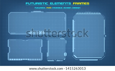 Sci Fi HUD modern futuristic user interface square Frames blocks Set.  Technology background with HUD dashboard interface. Vector illustration. #1415263013