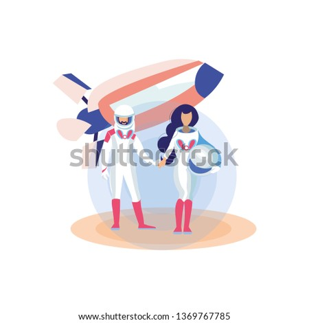 Sci-Fi New Planets Exploration Flat Illustration. Cartoon Couple in Spacesuits Holding Helmet. Futuristic Space Trips, Journeys in Shuttle. Male, Female Astronauts, Cosmonauts Exploring Galaxy