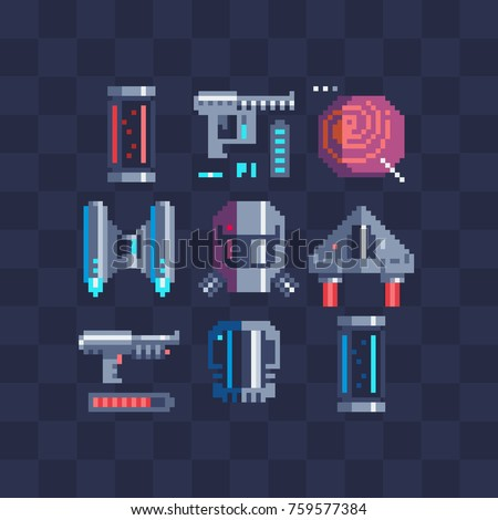 Sci-fi pixel art icons set. Flask, laser gun, spaceship, gas mask. Sticker design pack. Isolated vector illustration collection. Video game sprite. 8-bit.