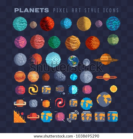 sci fi planets pixel art 80s...