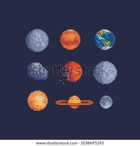 sci fi  planets pixel art set