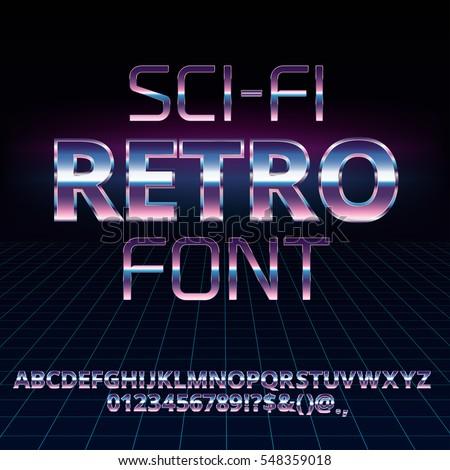 sci fi 80's retro alphabet