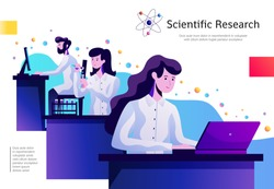 Science abstract colorful composition poster with young researches in lab with test tubes behind computers vector illustration