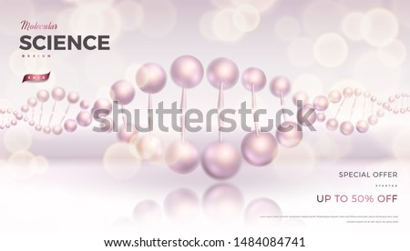 Science abstract vector background design with DNA molecular structure. Soft pink color 3d molecules luxury illustration, scientific banner for medicine, biology, cosmetics template