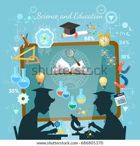 Science and education concept. Silhouette of boy and girl. Children study. Open book of knowledge school background effective modern education template design
