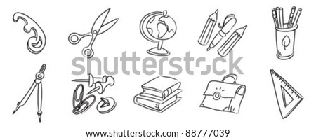 Science and education vector icons, hand drawn design set.
