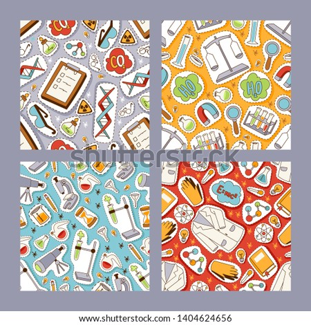 Science and inventions, diagrams, and equipment seamless pattern. Cartoon sticker and patch icons vector illustration. Supplies and clothing for experiments. Exploration. Discovering world.