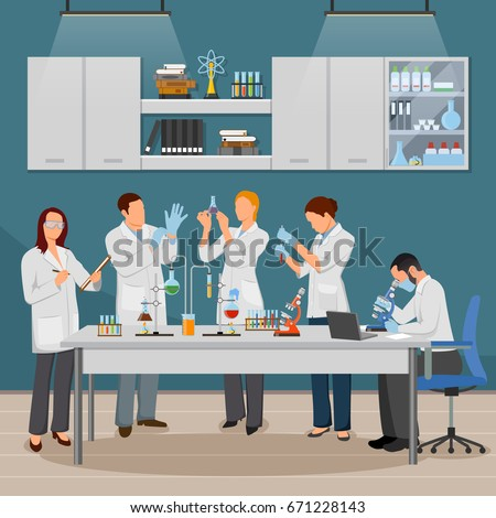 Science and laboratory composition with experiment and research symbols flat vector illustration