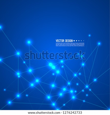 Science and neural network concept. High technology process. Connected cells with particle, molecule structure. Vector abstract background.
