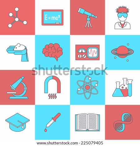 Science and research icon flat set with dna graduation hat book isolated vector illustration