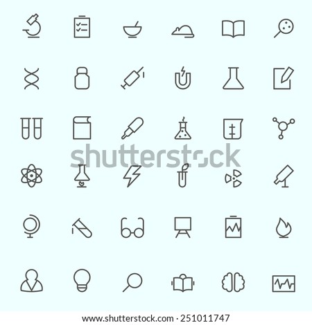 Science and research icons, simple and thin line design