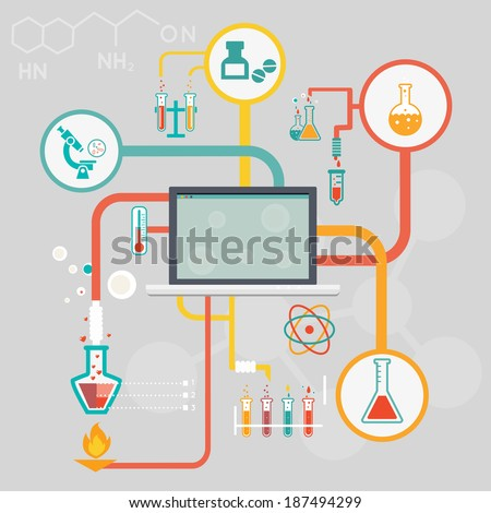 Science and research infographics with icons of different laboratory experiments in glassware and a microscope linked to a central computer screen depicting medical and industrial research