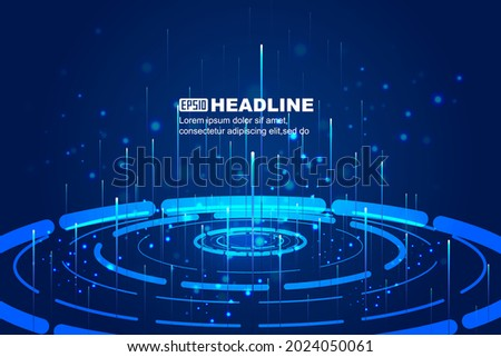 Science and Technology A vector background of high-speed luminous lines emitted by a circular turntable Foto stock ©