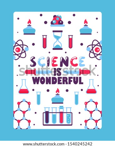 Science book cover for children, vector illustration. Inspirational poster for school chemistry class. Flat style laboratory glassware and scientific symbols. Motivational brochure for kids
