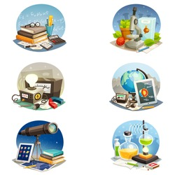 Science cartoon set of mathematics physics chemistry astronomy biology and geophysics equipment isolated vector illustration