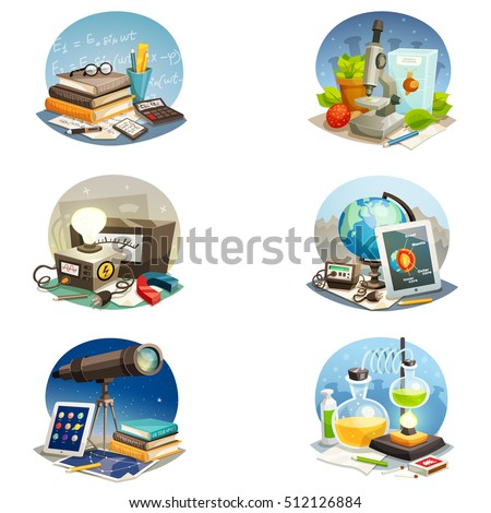 science cartoon set of