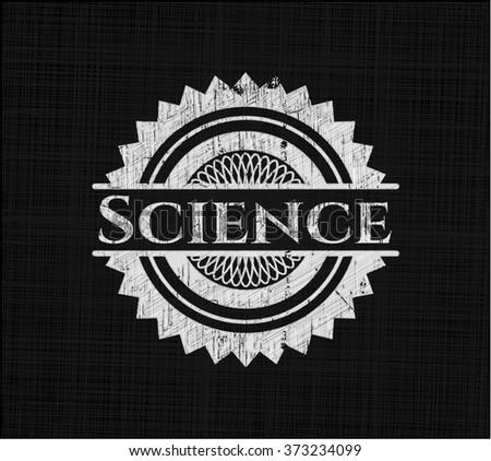 Science chalkboard emblem on black board