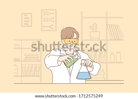 Science, chemistry, experiment concept. Young happy man scholar medical worker makes chemical reaction with reagents in laboratory. Scientific test, academic research or vaccine creation illustration.