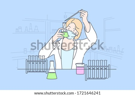 Science, chemistry, experiment concept. Young happy woman scholar medical worker makes chemical reaction with reagents in laboratory. Scientific test academic research or vaccine creation illustration