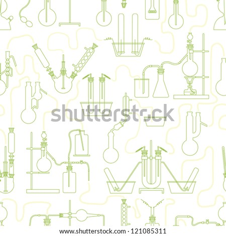 Science chemistry glass seamless background in green