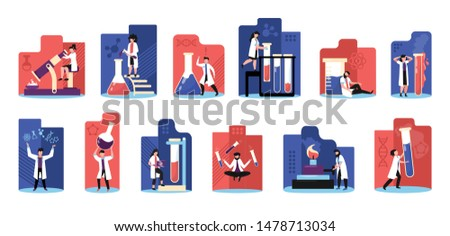 Science colorful red blue background flat icons set with lab research experiments tests discoveries symbols vector illustration