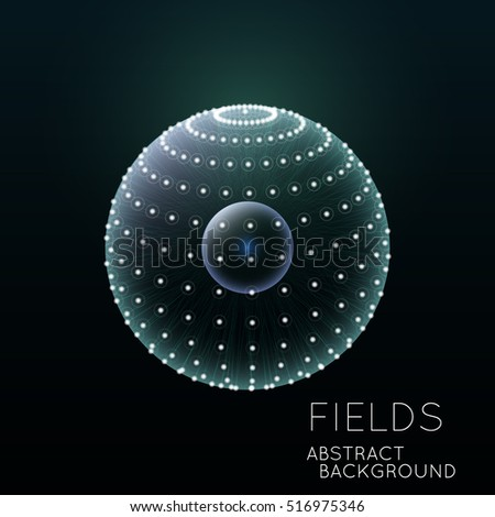 Science concept design. Physical forces, fields. Inner and outer spheres.  Abstract Globe Grid.  3D Technology Style.