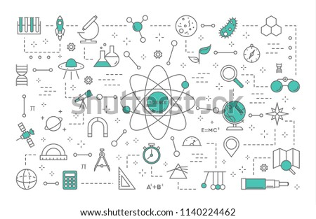 Science concept illustration. Idea of education and innovation. Study biology, chemistry, medicine and other subjects at the university. Set of line science icons