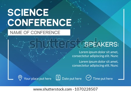 Science conference business design template. Science brochure flyer marketing advertising meeting.
