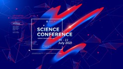 Science conference concept. Wide poster design template. Modern seminar page with 3d flowing shape. Vector banner gradient trendy illustration.