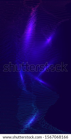Science Cyberspace Glowing Particles Vector Background. Network Big Data Illustration. Vertical Futuristic Blend Cool 3D Grid Cover. Funky Poster, Landing Page, Visual Digital Computing.