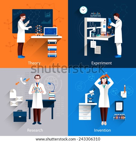 science design concept set with