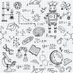 Science education doodle set of Biology, mathematics, physics, chemistry, astronomy, robotic technology, geometry seamless pattern.