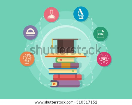 Science education icons. School and university study, book and knowledge, flat vector illustration