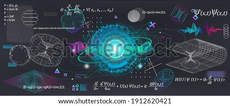 Science elements set concept Quantum Mechanics, formula, curvature of spacetime in a gravitational field, black hole, elements from theoretical physics. Futuristic Quantum Mechanics. Vector collection Foto stock ©