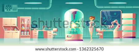 Science experiment in future laboratory cartoon vector concept. Scientist, human genome researcher with tablet in lab with robotic hand, chemical reagents and glass box for reactions illustration