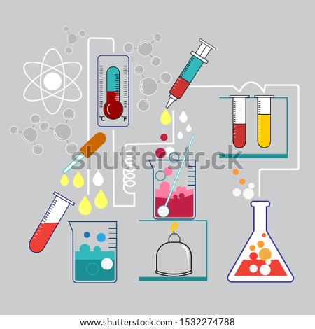 Science experiments Chemical experiments with a variety of scientific equipment are a demonstration of experimental procedures.