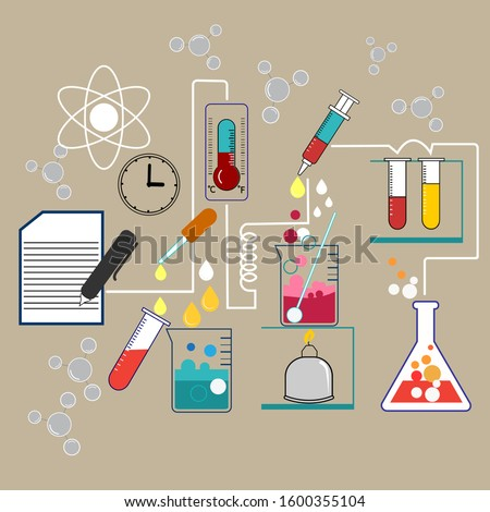 Science experiments Chemical experiments with a variety of scientific equipment are a demonstration of experimental procedures.and recording the results of scientific experiments