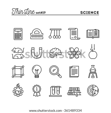 Science, experiments, laboratory, studies and more, thin line icons set, vector illustration