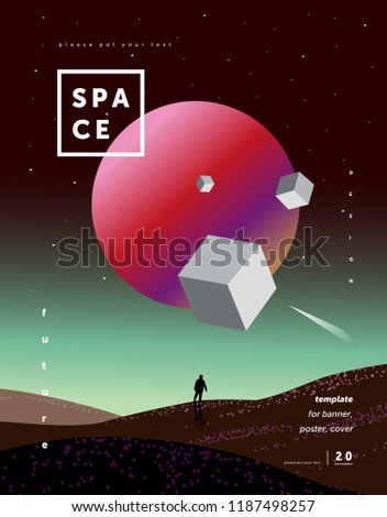 science fiction, abstract background for a poster or cover of the space and the future, a design template from multi-colored gradient, illustrations of planets, a starry sky, a spaceman