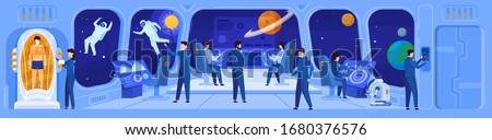 Science fiction spaceship crew on command deck, vector illustration. Team navigating spacecraft in interstellar mission, space exploration of future. People cartoon characters science fiction movie Foto stock ©