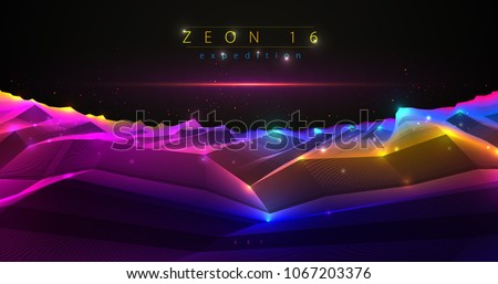 Science fiction vector cosmic illustration, space fantastic planet 3d line drawing. Usable as abstract background with copy space for title and text.