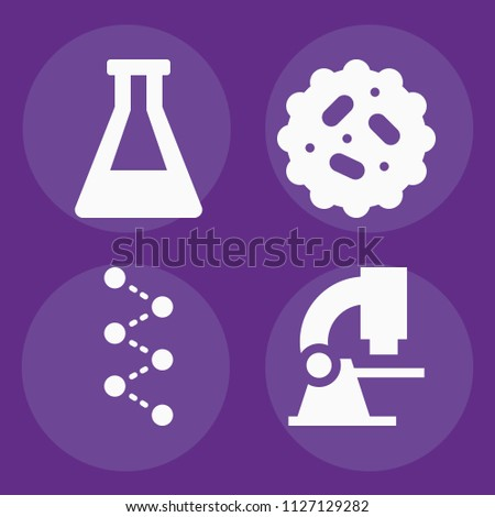 Science filled set of vector icons such as bacteria, molecules, microscope