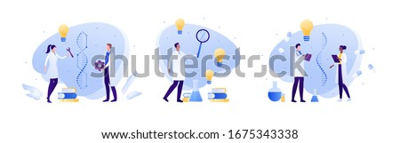 Science genetic laboratory and artificial dna concept. Vector flat person illustration. Male and female scientist with gene helix sign. Lab equipment. Idea light bulb. Design for medicine banner Stockfoto ©
