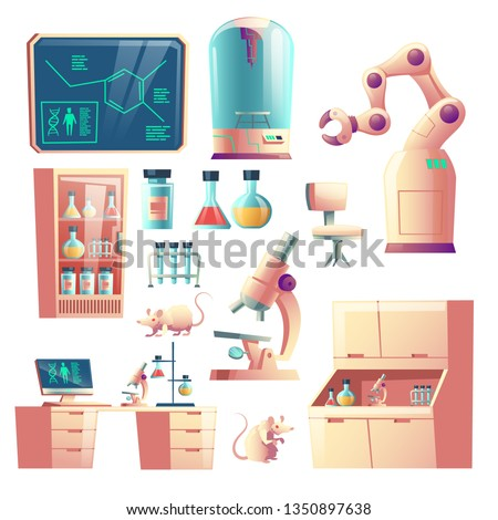 Science genetic laboratory equipment, glassware and tools cartoon vector set isolated on white background. Laboratory rats, robotic hand, microscope, desk with computer and glass flasks illustration