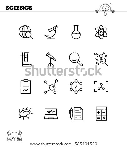 Science icon set. Collection of high quality outline symbols for web design, mobile app. Science vector thin line icons or logo.