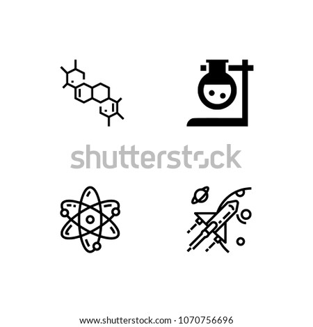Science icon set. EPS 10 vector format. Professional pixel perfect black & white icons optimized for both large and small resolutions. Transparent background.