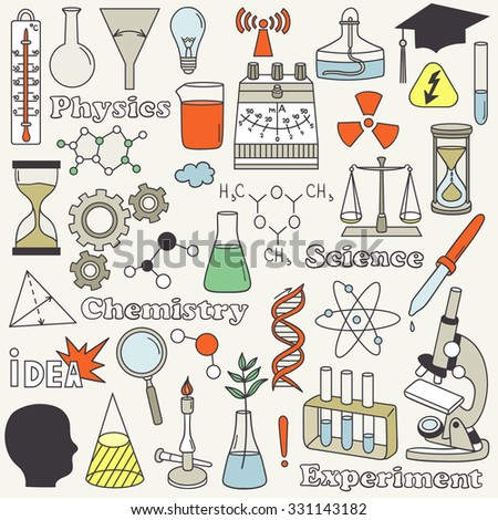 science icon set hand drawn